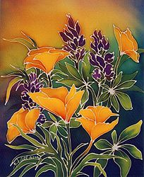 image of California poppies with purple flowers from silkscreen painting by Kalalani (Carolyn Mondress and Karen Rosen) in Hawaii.