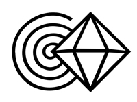 symbol of spiral and diamond trademark for Joy Gardner's Vibrational Healing Certification Program (not for public use)